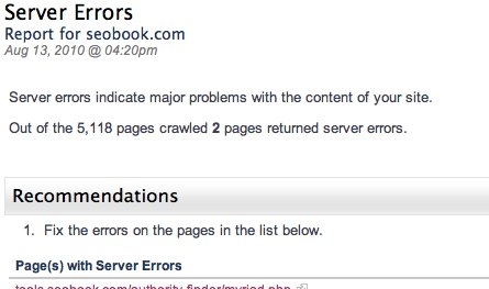 Alexa Site Audit Server Errors