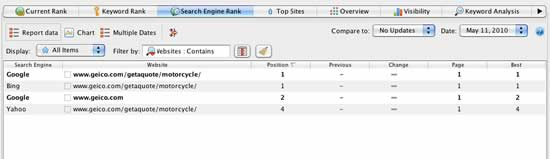 Search Engine Rank Report