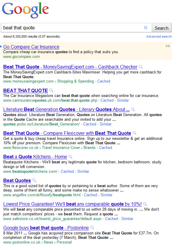 Google Confirms Beat That Quote Spamming Activities By