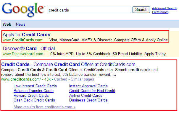 Credit Cards Google Sitelinks.