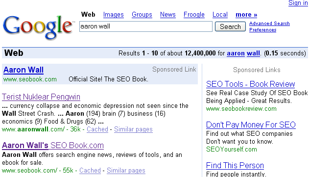 Google search results for Aaron Wall.