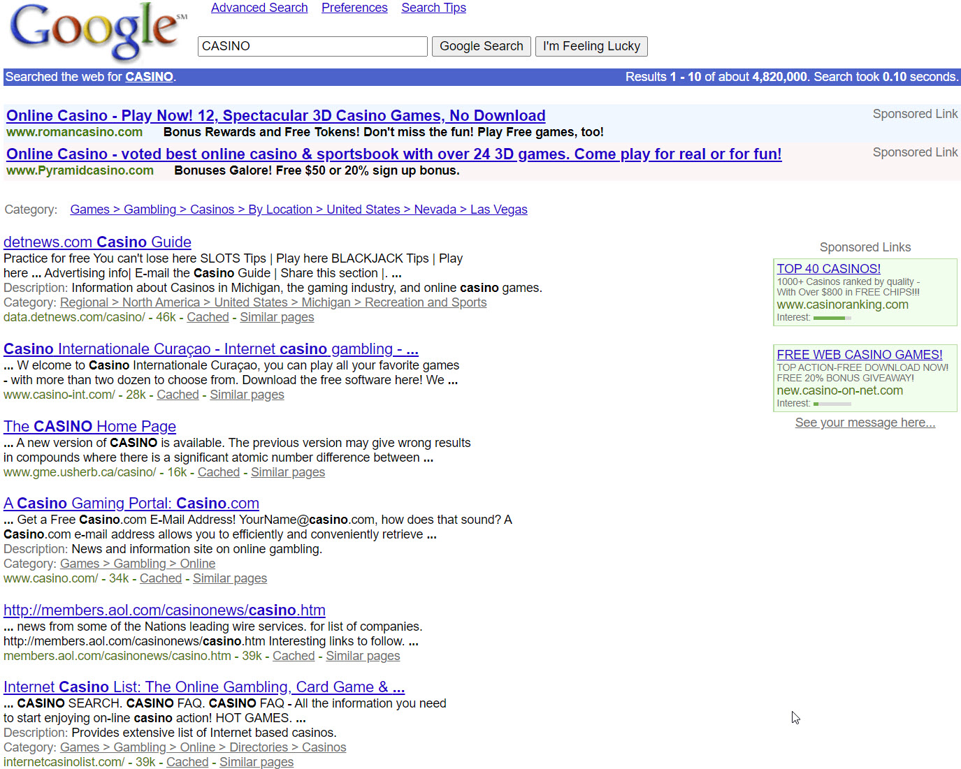 2001 Google search results with clear ad labeling and small ad units.