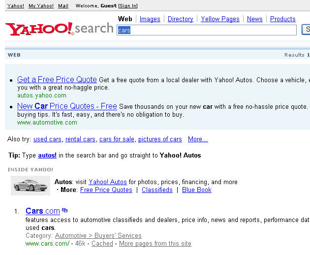 Image Capture New Look Yahoo! Search.