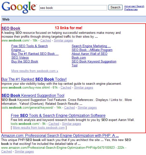 Seo Book Google Sitelinks.
