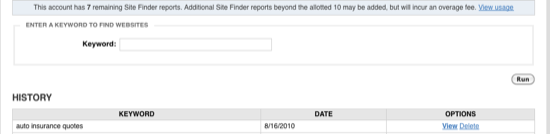 Site Finder Start page