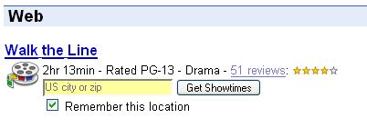 Google Movies Onebox.