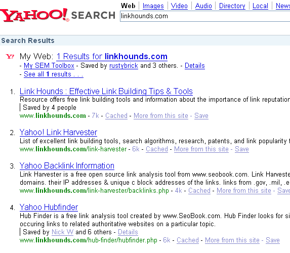 Yahoo! site search with tagged by results in it.