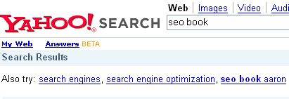 Yahoo! see also result for SEO Book.